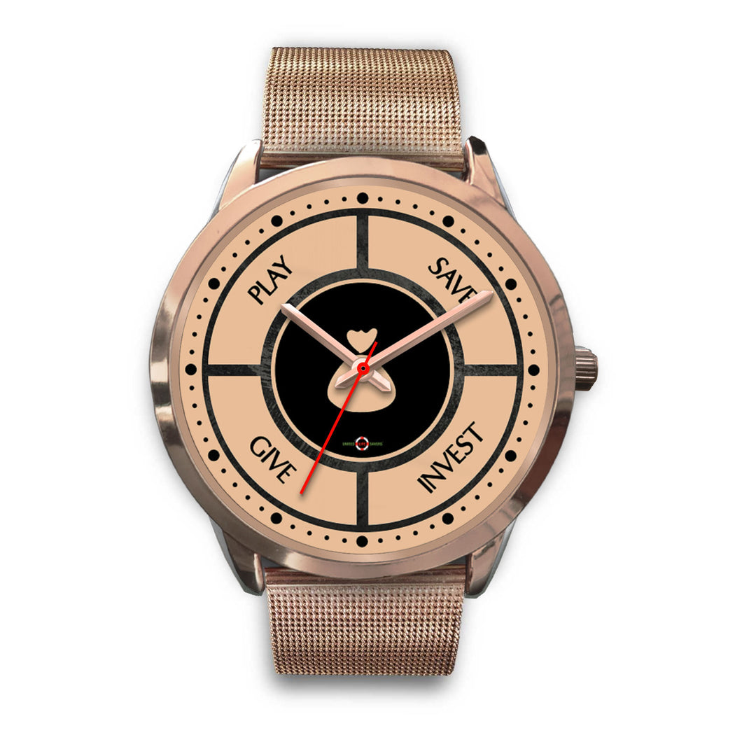 Save-Invest-Give-Play - Rose Gold Watch (10 band options)