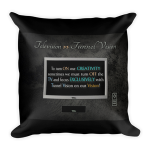 Television vs Tunnel Vision - Throw Pillow (with hidden zipper)