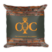 Load image into Gallery viewer, Confident in Christ - Throw Pillow (with hidden zipper)