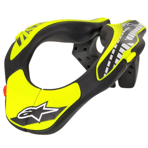Colar Cervical ALPINESTARS NECK SUPPORT JUNIOR Preto/ Amarelo Flúor (8-14 anos)