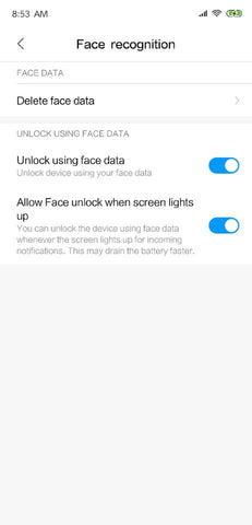 Mi 8 - Face Unlock Feature