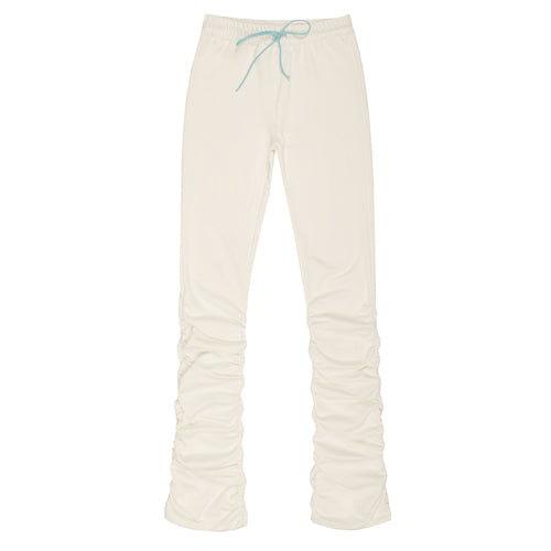 CONTRAST COLOR DRAWSTING PLEATED PANTS WHITE