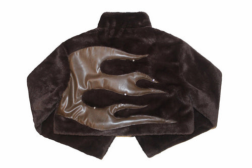 BROWN RHINESTONE LEATHER FLAME FUR SHORT JACKET
