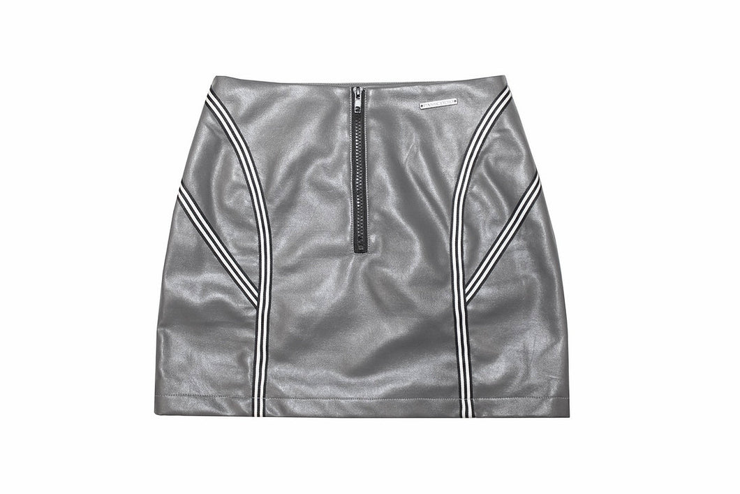 GREY RIBBON LEATHER SKIRT