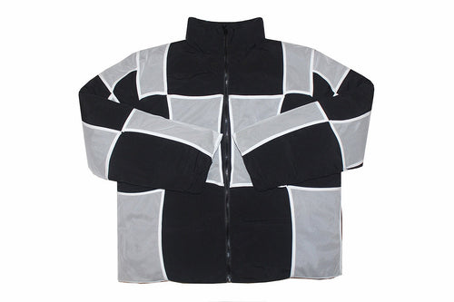 REVERSIBLE WHITE MESH SQUARE PATCHWORK BLACK COTTON COAT