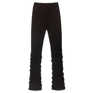 CONTRAST COLOR DRAWSTING PLEATED PANTS BLACK