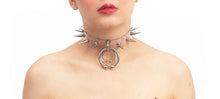 pvc spike double  piercing choker
