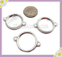 8 Silver Plated Round Cabochon Trays, Cab Connectors Fits 16mm, PS218