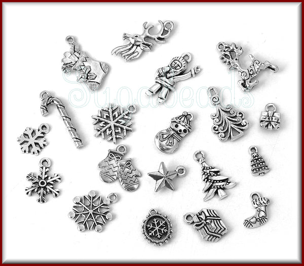 19 Mixed Holiday Charms, Antiqued Silver Christmas Charms, Various sizes