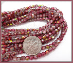 50 Faceted Magic Ruby Etched Czech Beads - Rose Pink Fire Polished Etched Mix 4mm -CZBB15