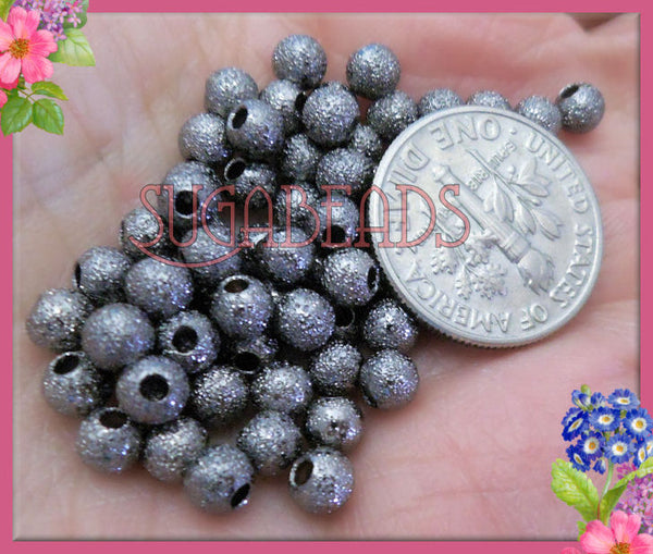 100 Gunmetal Black over Copper Stardust Round Beads 4mm - sugabeads