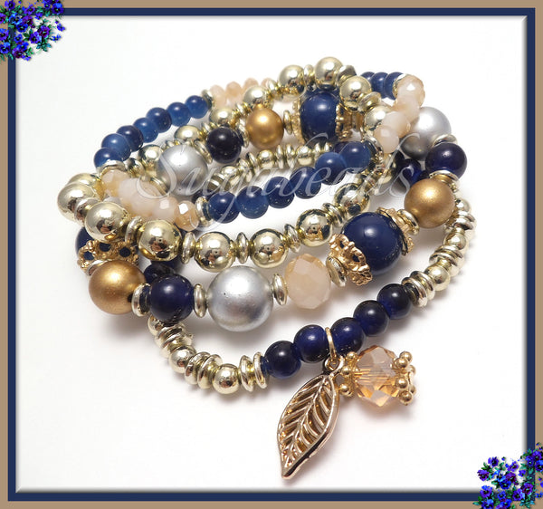 Deep Blue Classic Beaded Bracelet - Four Strand Bracelet - Stretch Bracelet - Sz 7