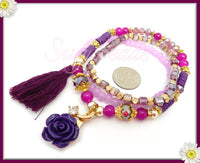 Purple And Pink Rose Tassel Bracelet, 3 Strand Tassel Bracelet - sugabeads