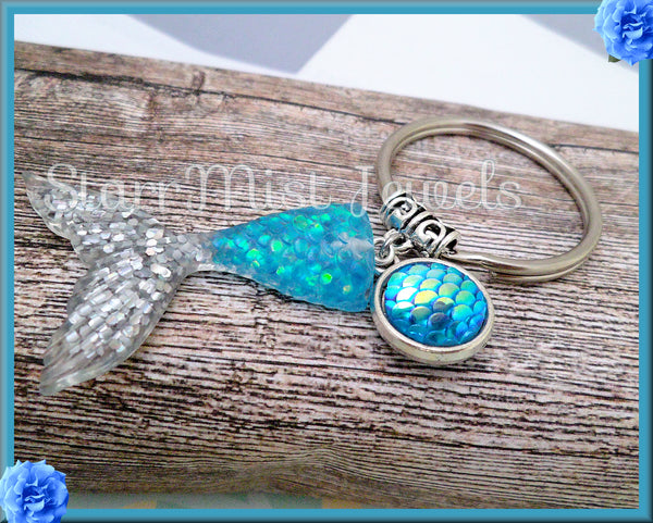 Silver Mermaid Tail Key Ring with Charm