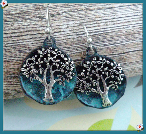 Silver Tree Earrings - Blue, Tree Earrings