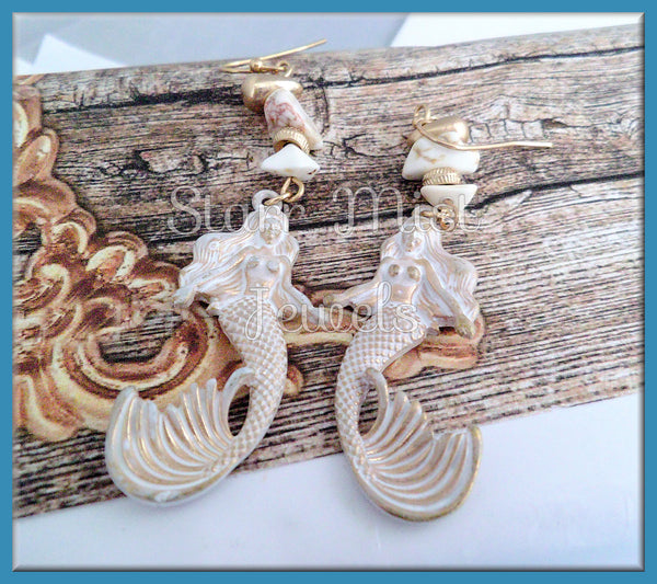 White Patina Mermaid Earrings in Gold Tone - Mermaid Earrings - Beach Jewels