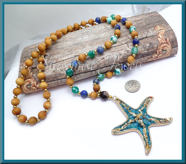 Starfish Necklace, Gemstone Beaded Starfish Necklace, Aromatic Wood Beads, 31 inches