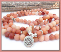 Frosted Pink Agate Yoga Bracelet with Lotus Flower, Mala Bracelet