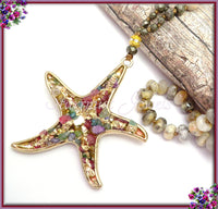 Gold Starfish Pendant on hand knotted Necklace, Beige Coral Fossil Necklace - sugabeads