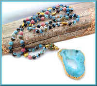 Blue Druzy and Fire Agate Long Necklace, Gemstone Necklace, 33 Inch Necklace