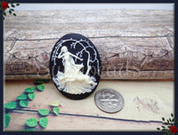 2x Diana Huntress Cameo, Ivory on Black Cameo, Flat Back Cameo, Resin Deer Cameo, Fits 40x30mm