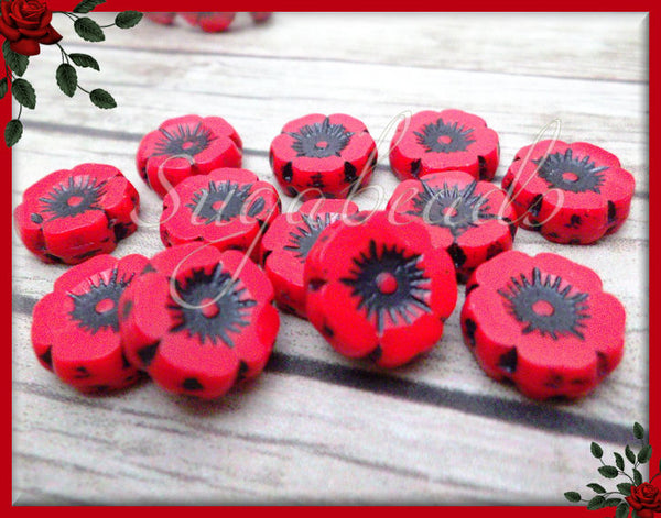 6 Red Poppy Beads, Czech Glass Flower Beads, Hawaiian Flower Beads, Flower Beads 12mm