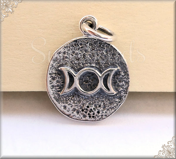 1 Sterling Silver Triple Goddess Charm - Petite Triple Moon Charm - Wiccan Amulet Charm