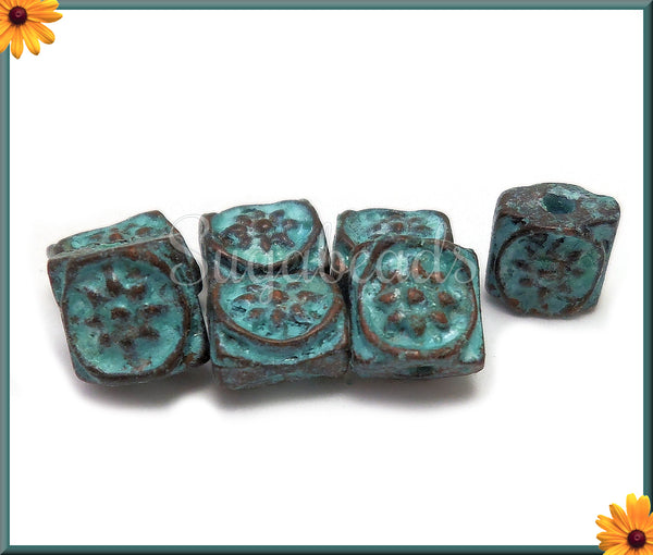 6 Mykonos Beads - Square Sun Embellishment Beads with Green Patina 7mm MK18 - sugabeads