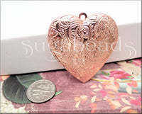 1 Rose Gold Heart Locket, Larger sized Heart, Rose gold Heart Pendant