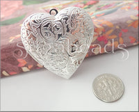 1 Silver Plated Heart Locket, Larger sized Heart, Silver Heart Pendant