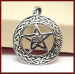 Sterling Silver Celtic Pendant with Pentagram, Celtic Knot Pendant, 925 Pentagram Pendant