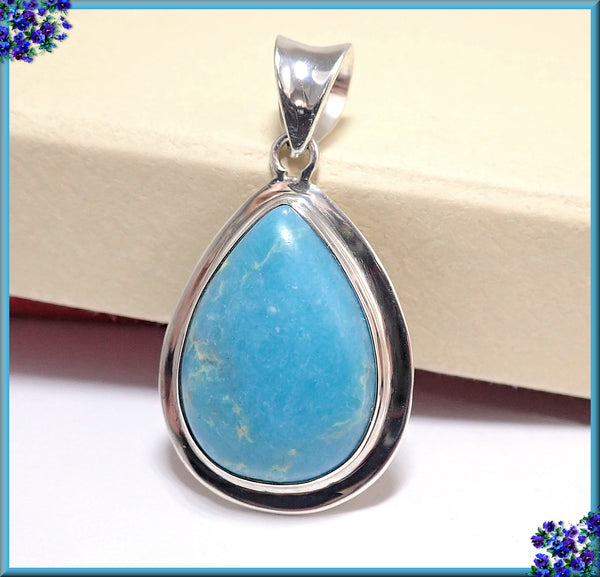 ON SALE! Beautiful Sterling Silver w Sky Blue Sea Sediment Jasper Stone Pendant
