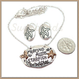 Mermaid Kisses Necklace with Starfish Earrings