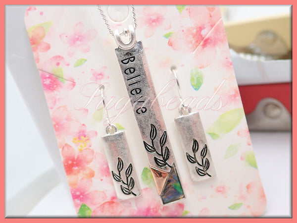 Believe Silver Column Pendant with Earrings