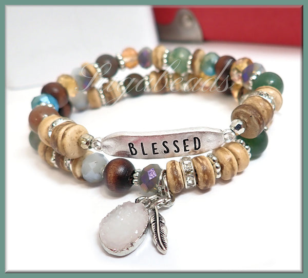 Silver Blessed Bracelet w Stone, Coco Wood & Glass Beaded Bracelet - sugabeads