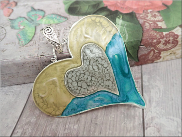 Large Altered Heart Pendant in Aqua Blue, Grey and Peridot