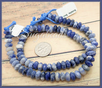Sodalite Stone Beads, Faceted Big Hole Rondelle 8mm - 22 pieces - sugabeads