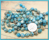 24 Star Cut Blue Crazy Lace Agate Beads 8mm, Turquoise Blue Agate Beads