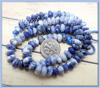 Sodalite Stone Beads, Faceted Big Hole Rondelle 8mm - 22 pieces
