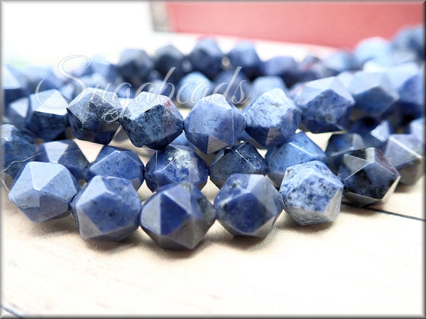 24 Star Cut Dumortierite Beads, Dark Blue Stone Beads, Dumortierite Quartz Beads - sugabeads