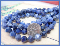 24 Star Cut Dumortierite Beads, Dark Blue Stone Beads, Dumortierite Quartz Beads