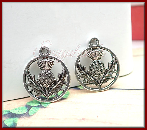 20 Antiqued Silver Scottish Thistle Charms, Silver Heather Charms