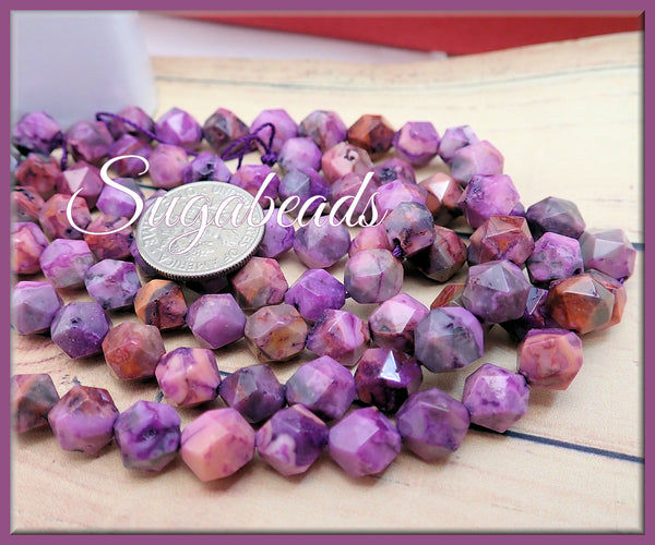 24 pcs Star Cut Purple Crazy Lace Agate Beads 8mm - sugabeads