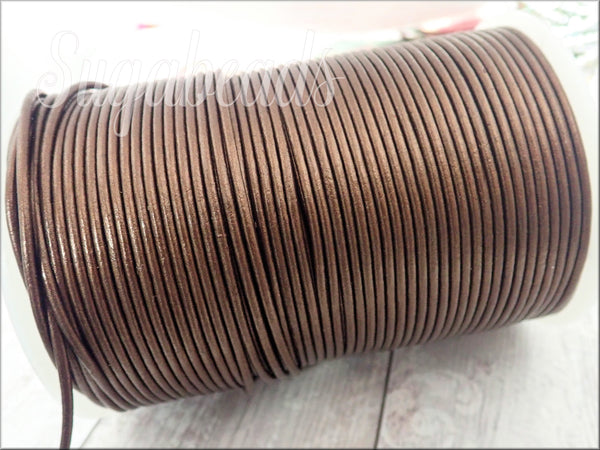 Metallic Bronze Leather Cord, Round Leather Cord, Bronze Leather, 16ft Leather 2mm