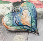 Large Altered Heart Pendant in Abstract Style, Blue, orange, Green and White