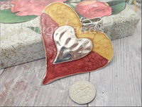 Large Altered Heart Pendant in Red and Gold