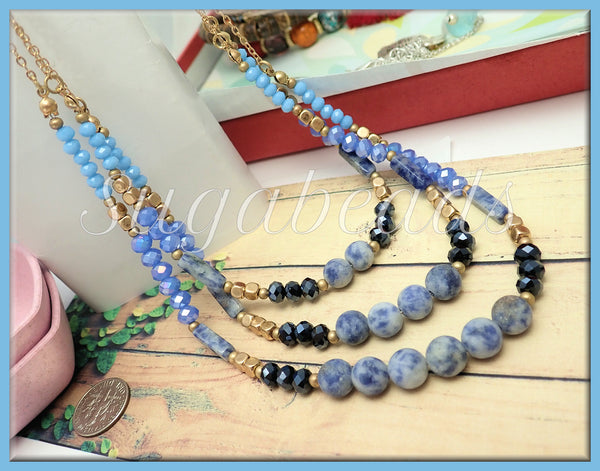 Blue Matte Sodalite 3 Strand Layered Necklace