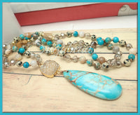 Blue Ocean Jasper Pendant necklace with Druzy