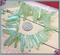 Side Drilled Electroplated Quartz Point Beads, Dyed Light Green Quartz Beads, Crystal Quartz Beads
