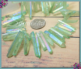 Side Drilled Electroplated Quartz Point Beads, Dyed Light Green Quartz Beads, Crystal Quartz Beads - sugabeads
